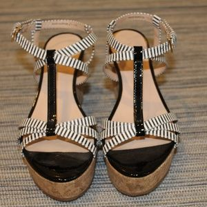 Kate Spade Tropez Black and White Wedge